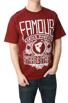 NEW FAMOUS STARS AND STRAPS short sleeve  t shirt boys youth Large red M L XL