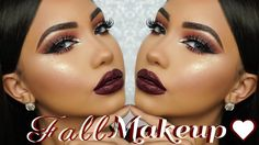 Makeup Look For Burgundy Dress Kylie - fall dark burgundy makeup tutorial Prom Makeup Tutorial, Makeup Tutorials Youtube, Contouring Tutorial, Tutorial Nails, Party Makeup Looks, Fall Makeup Looks, Bold Lip Makeup, Skin Makeup, Contour Makeup