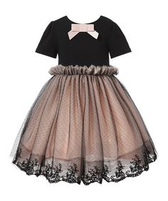 Another great find on #zulily! Black Tulle Ruffle Dress - Toddler & Girls #zulilyfinds
