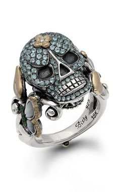 Someday Skull Ring – Diamond, Blue Topaz, Tsavorite & White Mother of – Barbara Bixby