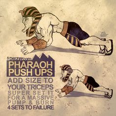 Try some Pharaoh Pushups Exercise: Pharaoh Push Ups Exercise Technique: Hands planted on the floor in front of shoulders Arm. Circuit Training Workouts, Gym Workout Tips, Chest Workouts, Dumbbell Workout, Chest Exercises, Workout Exercises, Workout Routines, Muscle Training, Strength Training
