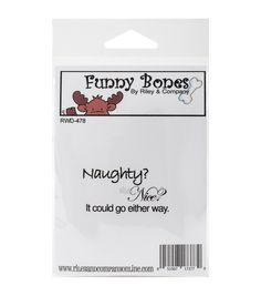 Riley & Company Funny Bones Cling Stamp-Naughty Or Nice?