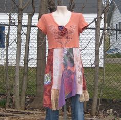 Upcycled Babydoll Tunic or Dress Upcycled Clothing by AnikaDesigns