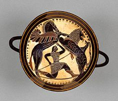 A Lakonian or Spartan black-figure kylix or wine cup, c.565 BC, depicting with Bellerophon, aided by the winged horse Pegasos/Pegasus fighting the Chimaer, whose body combines a lion, snake and goat. (J Paul Getty Museum)