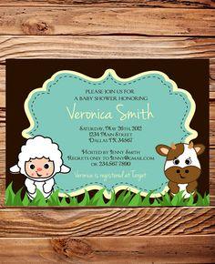 Barn Animals, Baby Shower Invitation, Farm Animals Baby Shower Invite, Boy, Girl, Baby Shower invite, brown, blue, purple, little lamb, cow. $20.00, via Etsy.