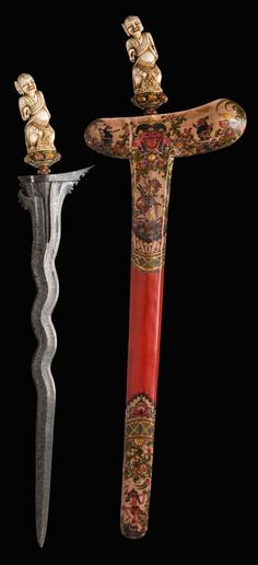 The Caravana Collection  20th Century  Indonesia/Malaysia  Steel, gilded silver, ivory, agates, rubies, painted wood.  Full Length: 65, 5 cm; Blade Length: 47 cm