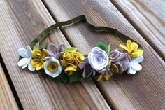 Felt Flower Crown //  Mustard Yellow White  by fancyfreefinery, $20.00