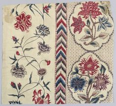 Floral stripe at left; chevron stripe in the middle; floral medallions at right. A painted adaption of a European block printed cotton. Motifs Textiles, Vintage Textiles, Textile Patterns, Textile Prints, Print Patterns, Indian Textiles, Victorian Fabric, Motif Floral, Floral Stripe