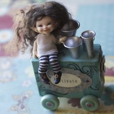 Realpuki Soso tiny BJD from Fairyland wig, faceup and clothes made by DuhBe