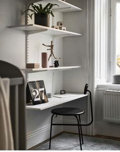 Dining Room Office, Ikea Office, Ikea Desk, Guest Room Office, Ikea Algot, Home Office Design, Home Office Decor, Ikea Shelves, Wall Mounted Shelves