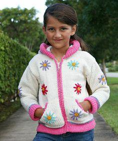 Love this Little Cotton Dress White Daisy Knit Wool Zip-Up Hoodie - Infant, Toddler & Girls by Little Cotton Dress on #zulily! #zulilyfinds