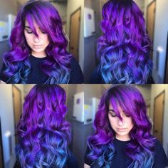 Best Hairdo Ideas for Busy Young Women - hairstyles - Hair Designs Hair Color Purple, Hair Dye Colors, Cool Hair Color, Purple Ombre, Wild Hair Colors, Rainbow Hair Colors, Purple Hair Streaks, Galaxy Hair Color, Bright Hair Colors
