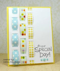 Another good use for paper scraps!  Weave them through card stock for a unique panel on your handmade birthday card!  Could also use fabric, and even one strip would look great!