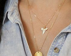 Dainty Gold Shark Tooth Necklace // White Shark Tooth on Silver, Rose Gold or Gold Fill Chain // Great Layering Necklace LN608