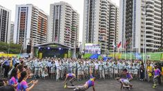 Team Australia is welcomed to the athletes' village at the start of the…