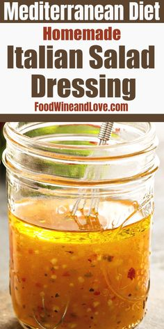 Homemade Italian Salad Dressing, the easiest and tastiest homemade Italian style salad dressing, Vegan, GlutenFree and Mediterranean diet frienldy recipe Italian Dressing Recipes, Homemade Italian Dressing, Salad Dressing Recipes, Italian Vinaigrette Dressing Recipe, Salad Dressing Homemade, Cucumber Recipes, Fruit Salad Recipes, Wine Recipes, Cooking Recipes