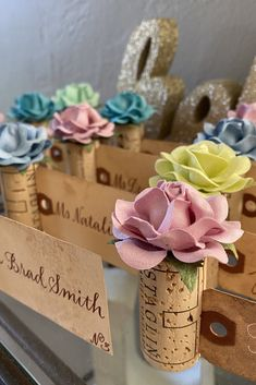 Create a lush & colorful Place Card Table with beautiful wine cork place card holders by Kara's Vineyard Wedding. Available in 28 custom colors to match your wedding color palette perfectly! Wedding Places, Wedding Place Cards, Name Card Holder, Place Card Holders, Nice Handwriting, Blooming Rose, Seating Chart Wedding, Vineyard Wedding, Paper Roses