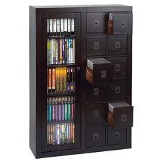 Oak wood media cabinet with twelve drawers and four adjustable shelves. Product: Media cabinetConstruction Material:...