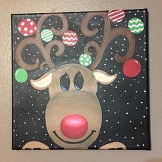 Reindeer christmas canvas decor van craftsbydaniellelee op Etsy