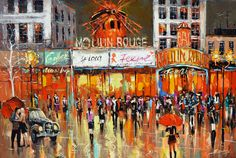 Original Contemporary Moulin Rouge Modern Art Oil by spirosart, $489.00