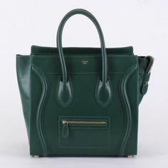 Celine Boston Smile Tote Handbags 98169 Dark Green Replica Bag