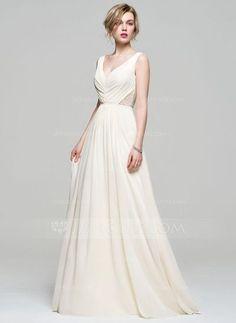 A-Line/Princess V-neck Floor-Length Chiffon Bridesmaid Dress With Ruffle Lace Beading Sequins (007074167) #jjshouse