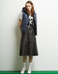 Le Ciel Bleu Quilt Hooded Vest, Pony 83 Logo Tee and Leather Bonding Skirt