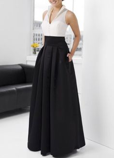 Elegant Black A-line V-Neck Taffeta Floor-length Evening Dress