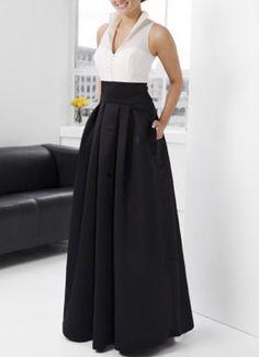 Elegant Black A-line V-Neck Taffeta Floor-length Evening Dress