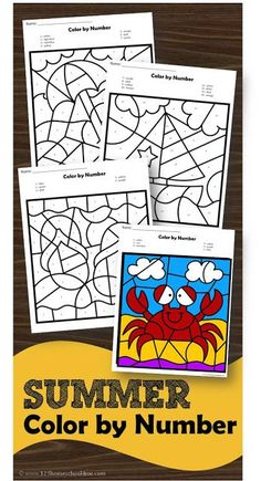 FREE Summer Color by Number – free printable worksheets to help preschool, prek, kindergarten age kids to identify numbers and while improving fine motor skills in these summer worksheets - Kids education and learning acts Kindergarten Colors, Preschool Colors, Kindergarten Age, Numbers Preschool, Free Preschool, Learning Numbers, Kindergarten Worksheets, Preschool Printables, Summer Worksheets