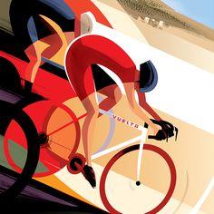 Vuelta poster by guy allen pigment bike art, bicycle art ve bike illustrati Bike Illustration, Graphic Design Illustration, Art Deco Posters, Vintage Posters, Bike Poster, Bicycle Art, Cycling Art, Inspiration, Biking