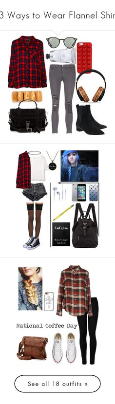 """13 Ways to Wear Flannel Shirts"" by polyvore-editorial ❤ liked on Polyvore featuring flannelshirts, waystowear, Ash, J Brand, Rails, Ray-Ban, Marc Jacobs, Proenza Schouler, MCM and MANGO"