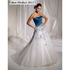 Colored Wedding Dresses | ... Wedding Dresses Strapless White and Blue Wedding Gowns with Color