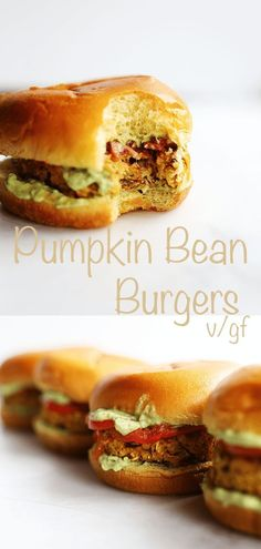 These homemade Pumpkin Bean Burgers only require 1 pot theyre vegan gluten free slightly spicy protein packed healthy and super easy to make! Easy Vegan Dinner, Vegetarian Recipes Dinner, Delicious Vegan Recipes, Vegan Dinners, Raw Food Recipes, Easy Eat, Bean Burger, Vegan Foods, Super Easy