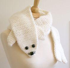 PDF Crochet Pattern for Seal Pup Scarf - Animal Warm DIY Fashion Tutorial Winter Fall Autumn Cute Crochet, Crochet For Kids, Crochet Baby, Crochet Scarves, Crochet Shawl, Crochet Fashion, Diy Fashion, Fashion Ideas, Fox Scarf