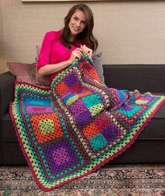 Granny Re-mix Throw : I love the bright and bold colors in this, perfect for a fun pop of color