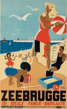 Zeebrugge.  Deco style family day at the beach poster