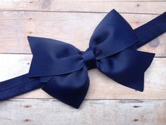 Navy blue headband with bow  navy blue baby by BrownEyedBowtique