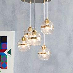 New and Chic with my favorite - brass details Banded Glass Chandelier - 5-Light #westelm