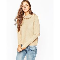 ASOS Jumper with High Neck and Double Layer (230 SAR) ❤ liked on Polyvore featuring tops, sweaters, camel, beige sweater, layered tops, asos sweaters, high neck top and loose sweater