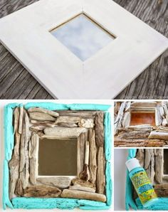 Ikea Malma Mirror Covered with Driftwood.