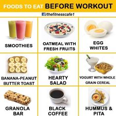 Foods to eat before a workout