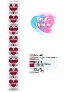 valetine heart love pattern miyuki delica beadloom bracelet - patronen voor weefarmbandjes