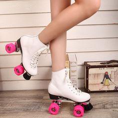 Reniaever F1 dupla patins com couro genuíno Base de Metal mulheres 4 rodas patins patins adulto sapatos de Skate de duas linhas