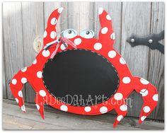 door decor, crab, chalkboard, ocean, door hanger, door art, beach, beach decor, wreath on Etsy, $40.00