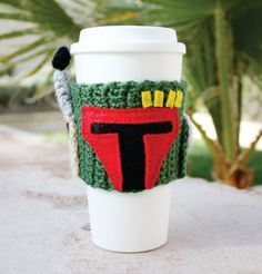Boba Fett Inspired Coffee Travel Mug Cup Cozy. At Etsy. http://www.etsy.com/listing/96719255/boba-fett-inspired-coffee-travel-mug-cup