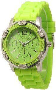 Women's Lime Green Chronograph Silicone with Crystal Rhinestones Bezel,$12.50
