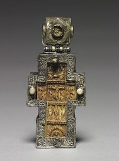Pectoral Cross, 1600s Byzantium, Russia, Byzantine period, 17th century walrus ivory, wood, partially gilt silver and pearls, Overall - h:10.50 w:5.00 d:1.65 cm (h:4 1/8 w:1 15/16 d:5/8 inches).