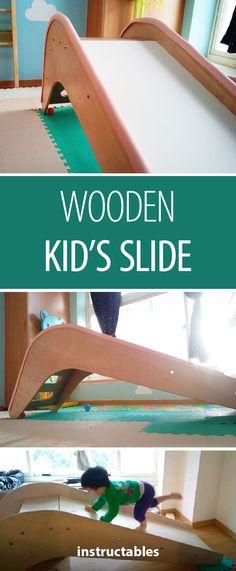 Making a wooden slide requires minimal tools and is great for beginners! Baby Slide, Toddler Slide, Kids Slide, Diy Slides, Indoor Slides, Homemade Slide, Stuffed Animals, Kids Bedroom Paint, Childrens Slides