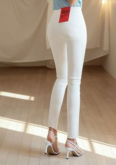 Korean Women`s Fashion Shopping Mall, Styleonme. Spanx Faux Leather Leggings, Perfect Jeans, Asia Girl, Korean Women, White Pants, Skinny Pants, Workout Pants, Beauty Women, Knitwear